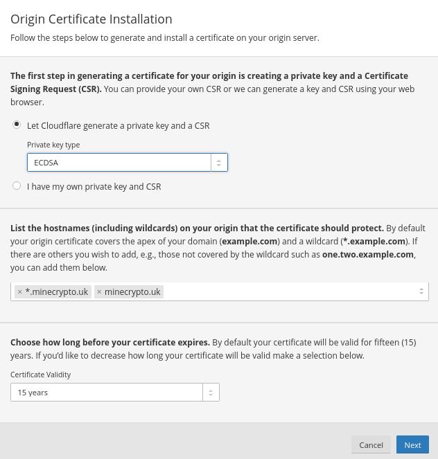 Origin Certificate Installation 1