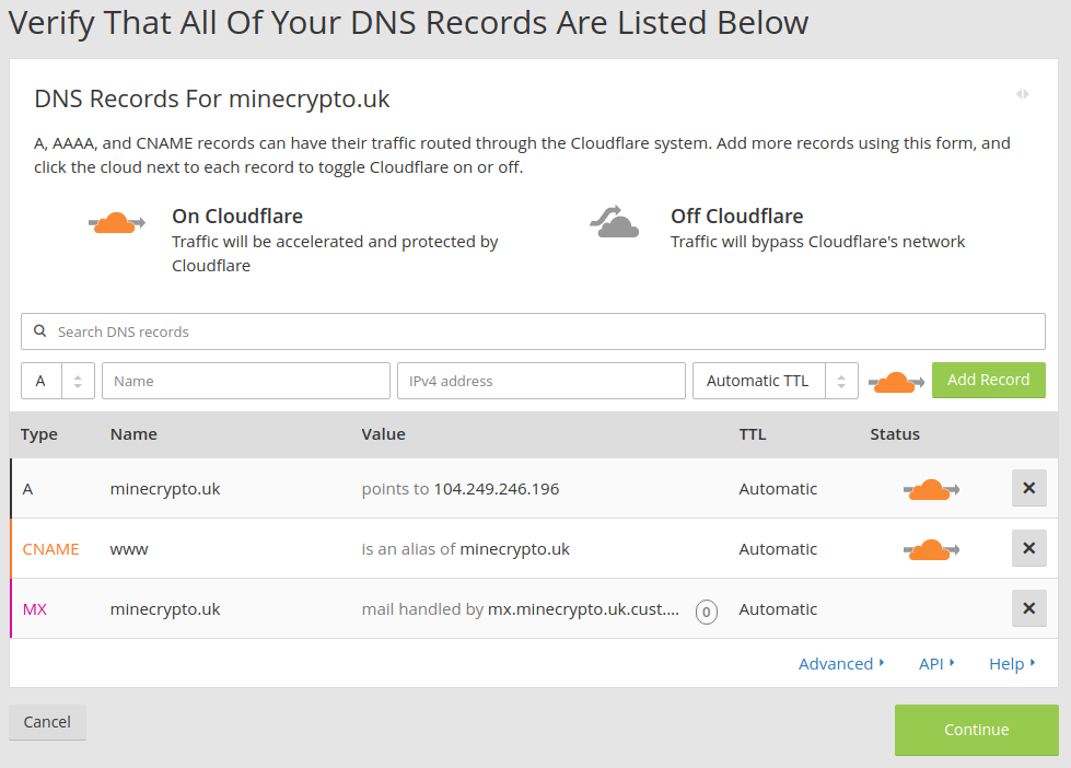 Verify DNS Record findings