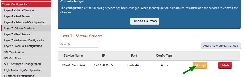 Modify virtual HAProxy service