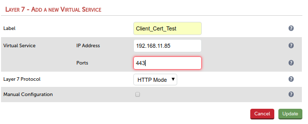Enter values in new HAProxy virtual service